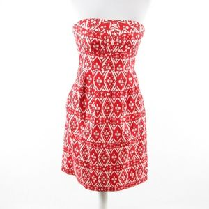 J. Crew red cotton strapless sheath dress 2